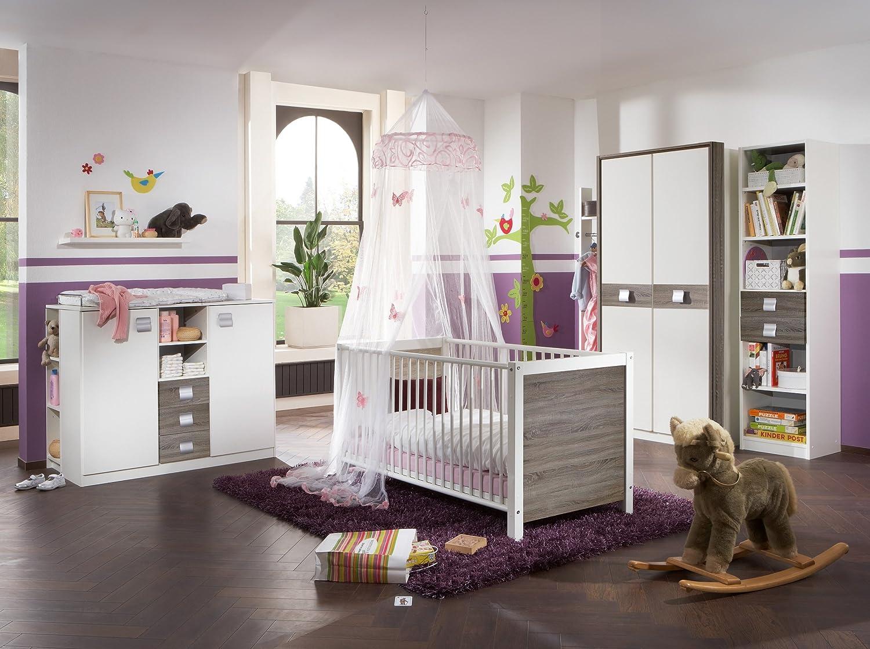 "Babyzimmer Komplett Set ""JETTE"" 5tlg Bett Wickelkommode Schrank Regal Montana-Eiche"