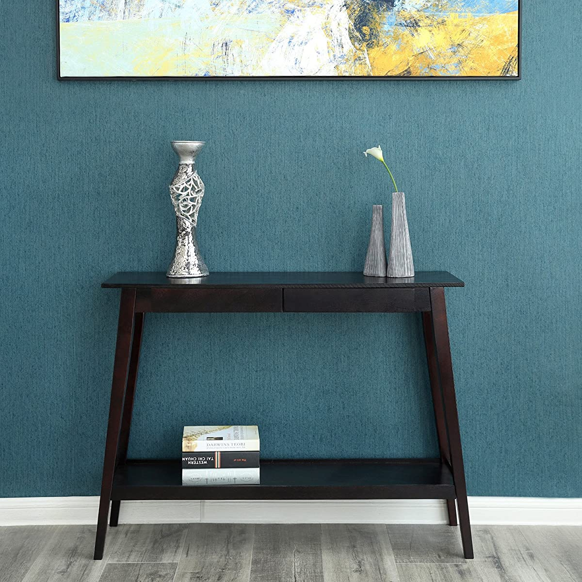 SONGMICS Wood Console Sofa Table and BookShelf with Sliding Drawers and Storage Shelves for Entryway, Living Room, Walnut Color ULCT01WN