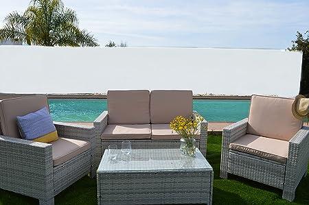 KieferGarden Florida Blanco conjunto muebles de jardín y exterior en Ratán Sintético