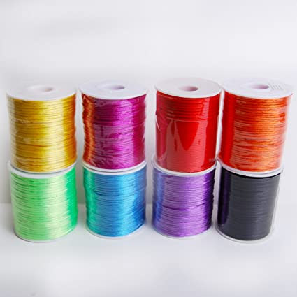 Amazon.com: ASSORTED COLORS 2mm x 100 yards Rattail Satin Nylon Trim Cord Chinese Knot