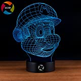 LE3D 3D Optical Illusion Desk Lamp/3D Optical Illusion Night Light, 7 Color LED 3D Lamp, Super Mario 3D LED For Kids and Adults, Super Mario Light Up
