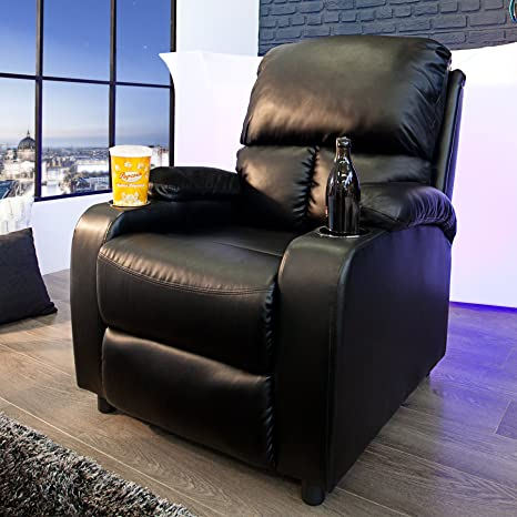 Eleganter Kinosessel HALL OF FAME schwarz mit Cupholder Sessel Polstersessel