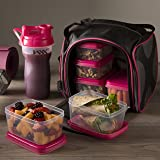 Fit & Fresh Jaxx FitPak Meal Prep Bag and Container Set with 6 Leakproof Portion Control Containers, Ice Pack and 28-ounce Jaxx Shaker Cup, Pink (Color: Pink, Tamaño: Standard)