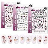 Naildrobe 3 Pack Valentine's Day Heart Love Peel-N-Stick Nail Stickers