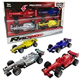 Liberty Imports Set of 4 Pullback Formula Race Cars with Light and Sound Effects