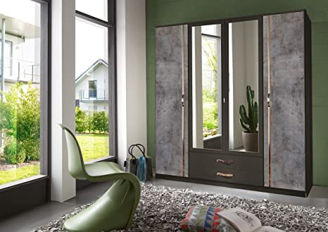 Modern German Duo Concrete Grey & Lava 4 Door Wardrobe With Mirror & Drawers Bedroom Furniture Mirrored Wardrobes 100% Made in Germany (4 Door) - 10 Year Guarantee