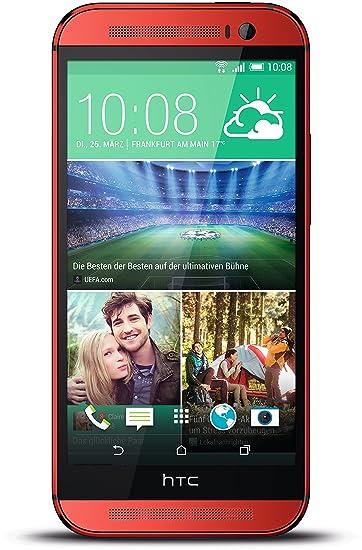"""HTC One M8 Smartphone avec écran tactile 5"""" (12,7 cm) Processeur Quad-Core Mémoire RAM 2 Go Appareil photo 5 Mpx Mémoire interne 16 Go Android v4.4 Rouge"""