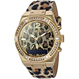 GUESS Women's Stainless Steel Connect Smart Watch - Amazon Alexa, iOS and Android Compatible, Color: Leopard (Model: C0002M6) (Color: Gold Tone)