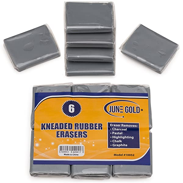 June Gold Kneaded Rubber Erasers (6 Pack) - Blend, Shade, Smooth, Correct, and Brighten Your Sketches and Drawings (Color: Gray)