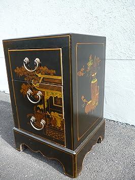 Pintado a mano cómoda negro 3 compartimentos