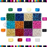 Over 8,000 Ceramic Small Pony Beads for Jewelry Making with Free Genuine Leather Cord Necklace - Handmade Colorful Premium Quality Craft Bead Kit - Unique Craft Supplies (Color: Over 8,000 beads)