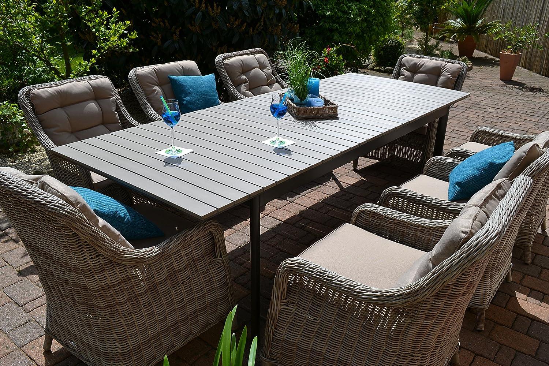 """Gartenmöbel Set Como""""XL""""-8 Tisch ausziehbar (205/260) Holzdekor mit 8 Sessel Rattan Polyrattan Geflecht günstig"""