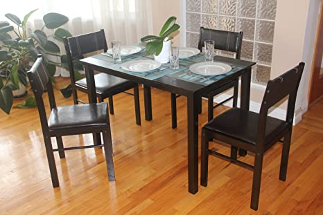 5 Pc Dining Room Dinette Kitchen Set Rectangular Table and 4 Kitty Chairs in Espresso Black Finish