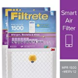 Filtrete 12x12x1 Smart Air Filter, MPR 1500, Allergen, Bacteria & Virus AC Furnace Air Filter, 2-Pack (Color: Multicolor, Tamaño: 12 x 12 x 1)