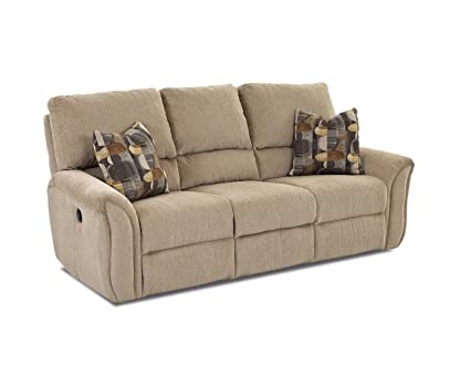 Klaussner Marcus Reclining Sofa, Parchment/Bayside