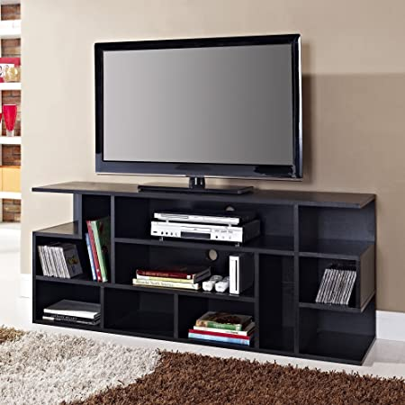 WE Furniture Wood Modern Style TV Stand, 60-Inch, Black