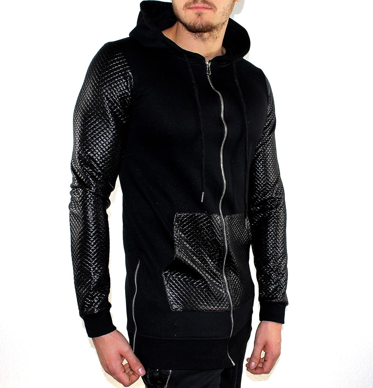 Herren Kapuzen – Pullover Schwarz Karosteppung günstig online kaufen