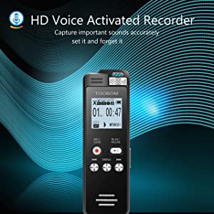 TOOBOM 16GB Digital Voice Recorder Voice Activated Recorder Playback - 2019 Upgraded Sound Audio Recorder Dictaphone Line in Lectures,Meetings,Conversation,Interviews,1536kbps (Color: black)