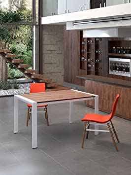 Oslo Extension Dining Table Walnut & White. Sleekly rectangular, the Oslo Extension Table is pure Norwegian hip. Walnut is offset by white painted steel. Works in the office or dining room.