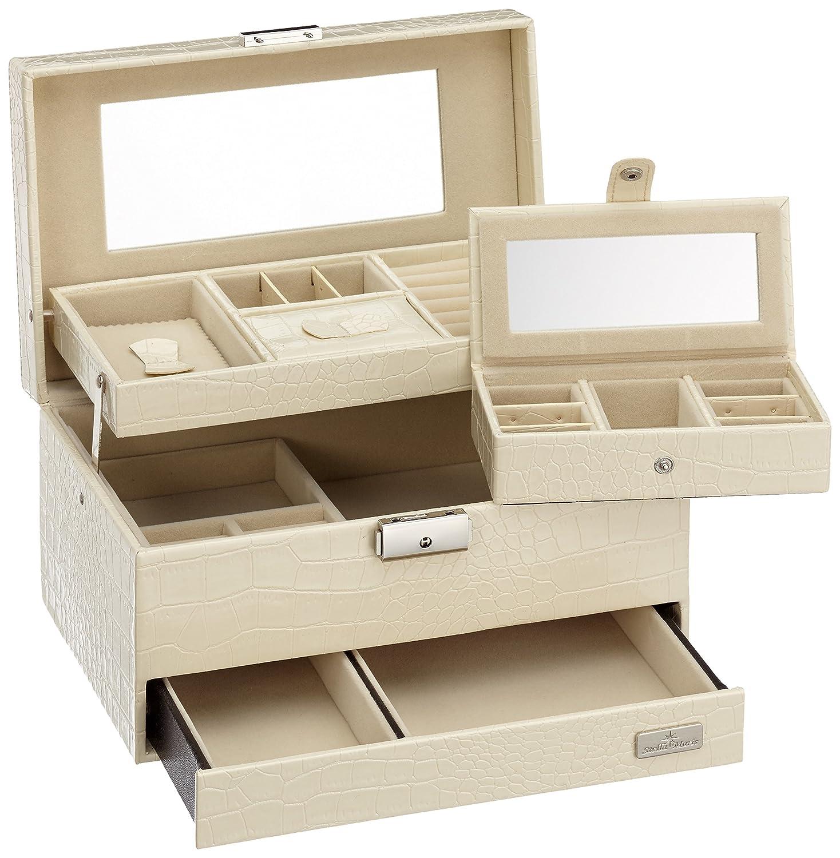 Stella Maris handgefertigter, edler Schmuckkoffer - großer Schmuckkasten, Schmuckbox, Kosmetikkoffer mit extra großem Spiegel in weiß - STM-CJ092C