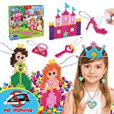 Kids DIY Water Fuse Non Iron Super Beads Girls Arts and Crafts Toy Set. Girls Indoor Activity Fun Project Little Princess Crafts Kit for Girls. Birthday Gift Age 4 5 6 7 8 9 Year Old Girl Perler Beads (Color: Hot Pink, Light Pink, Deep Green, Soft Green, Yellow, Soft Blue, Brown, Purple, Orange, White, Blac)
