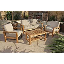 Image of 4pc Gili Teak Outdoor Patio Seating Set