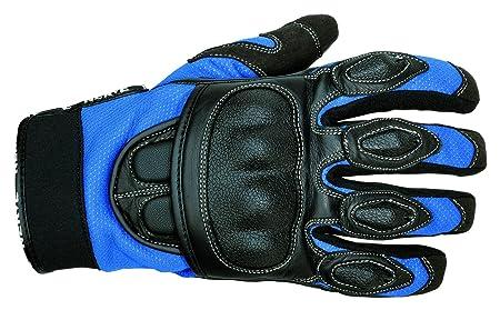 NERVE 1513120002_03 Sporty Gants Moto Eté en Cuir Textile, Noir/Bleu, Taille : M