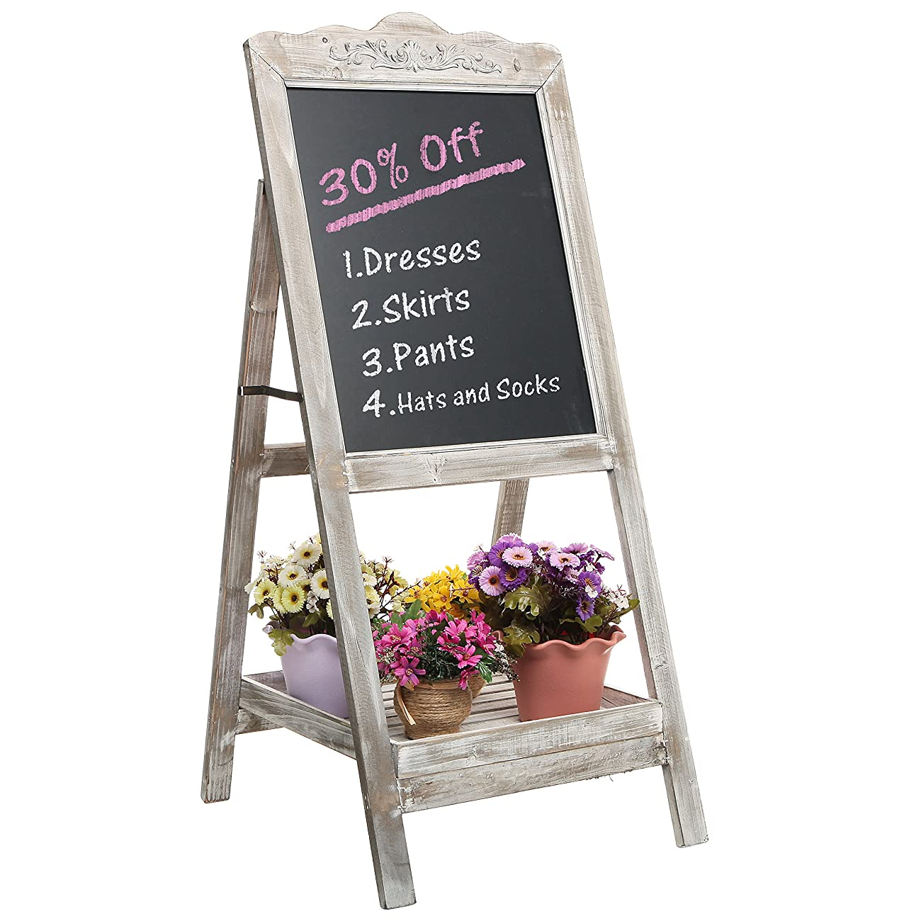 Decorative Vintage White Washed Brown Wood Large Freestanding Chalkboard Message Board Easel - MyGift 0