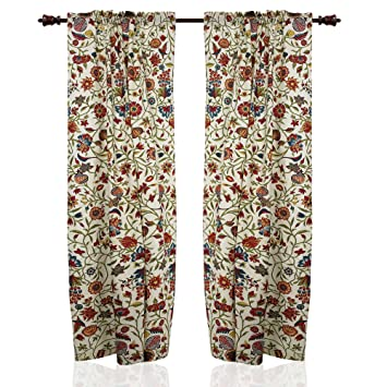 Cotton Curtains For Living Room Summer Decor Floral Panels 84 X 40 ...