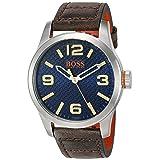 HUGO BOSS Orange Men's 'PARIS' Quartz Stainless Steel and Beige Leather Casual Watch (Model: 1513352) (Color: Silver)