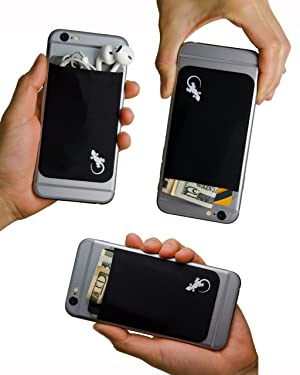 Music a Stick-On Stretchy Lycra Card holder Universally fits most Cell Phones /& Cases Gecko Adhesive Phone Wallet /& RFID Blocking Sleeve Xtra Tall Pocket Totally Covers Credit Cards /& Cash
