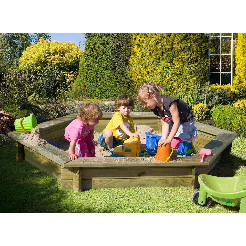 Sandkasten 6-eckig aus Holz mit Abdeckung Plane blau von Gartenpirat® jetzt bestellen