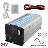 Giandel 4000W Heavy Duty Pure Sine Wave Power Inverter DC24V to AC120V with 4 AC Outlets with Remote Control 2.4A USB and LED Display (Color: silver, Tamaño: 4000W/24V)