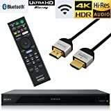 Sony UBP-X800 Streaming 4K Ultra HD 3D Hi-Res Audio Wi-Fi and Bluetooth Built-in Blu-ray Player with A 4K HDMI Cable and Remote Control- Black (Color: DARK)
