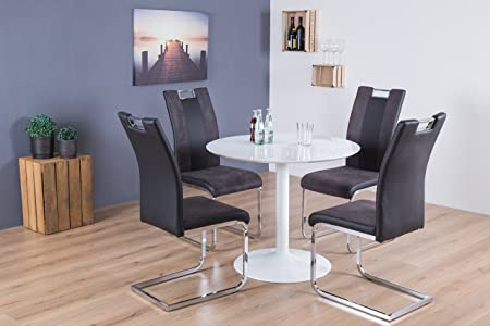 Reality Import Judy und Bari Essgruppe, 5-teilig, Lederimitat, schwarz, 90 x 90 x 76 cm