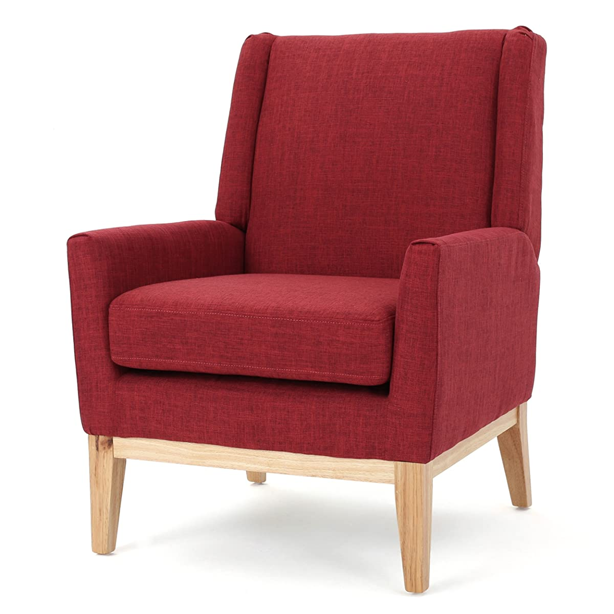 Archibald Mid Century Modern Fabric Accent Chair (Red)