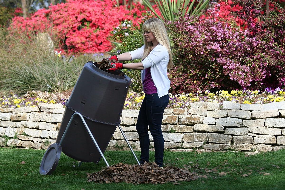 Spin Bin Composter 60 gal. Large Capacity Black Barrel Style Tumbler Compost Bin