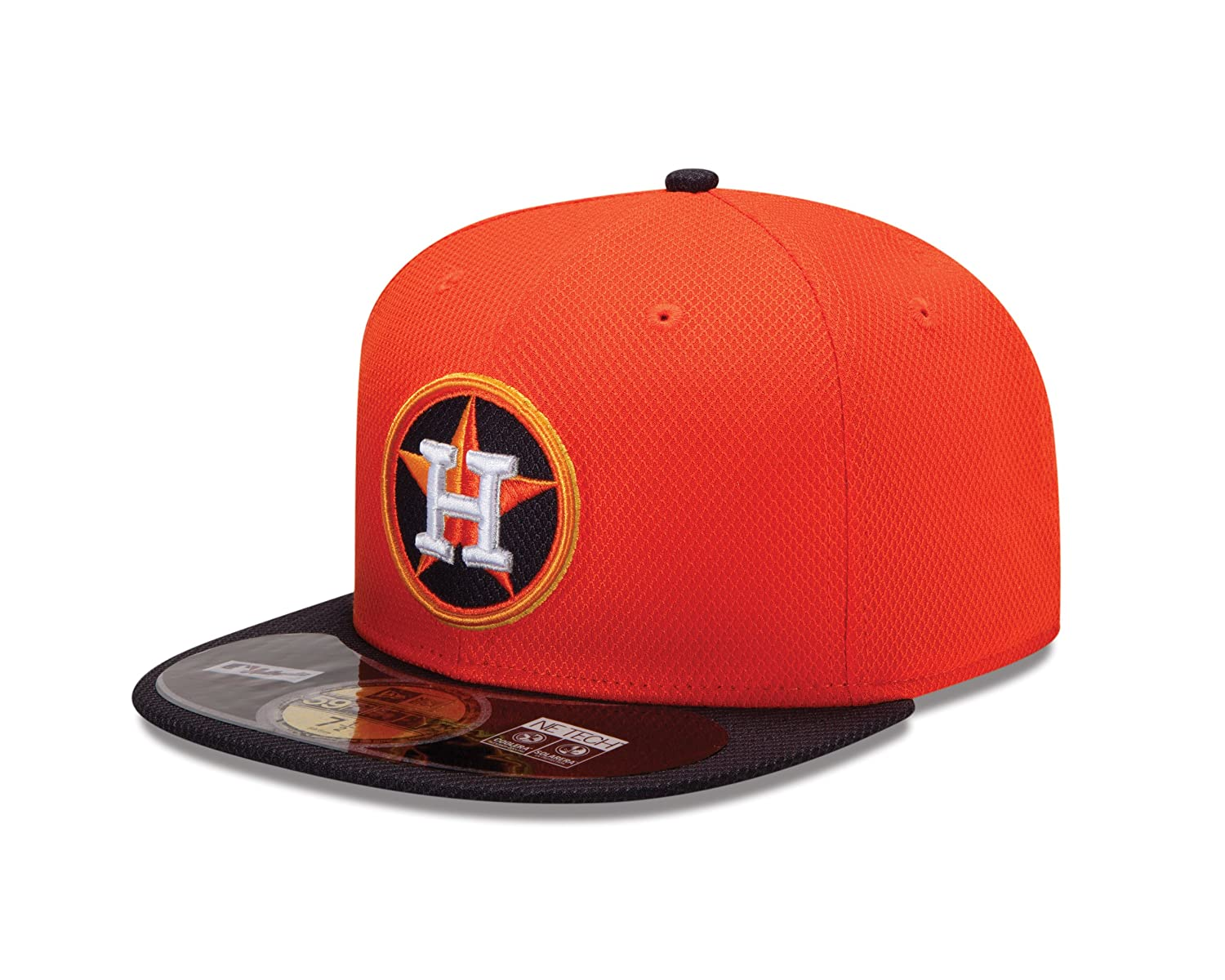 MLB Houston Astros Batting Practice 59Fifty Baseball Cap, Orange/Black crew neck color block pullover knitwear
