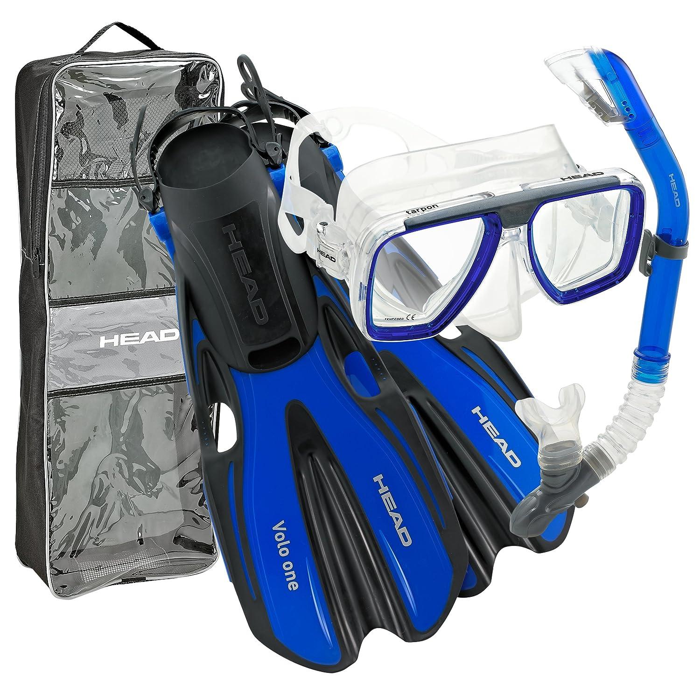 Head Mask Fin Snorkel Set + Snorkeling Gear Bag