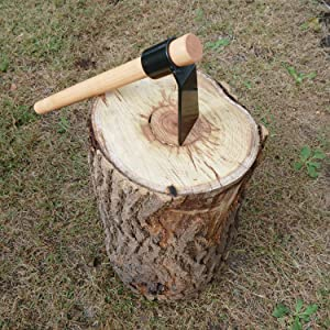Felled Woodworking Adze Axe - Flat Headed Hand Adze Woodworking Tool Log Carving Tools, 18 Inch Handle