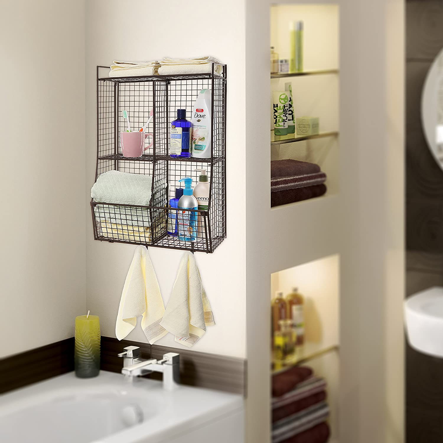 Wall Mounted Storage Rack Metal Wire Mesh Basket Shelf