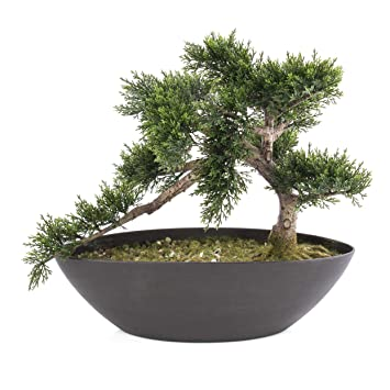 Set de 2 x Bonsai de cedro artificial en maceta, 197 ramas con ápices, 37 cm - Planta artificial / Macetero decorativo - artplants