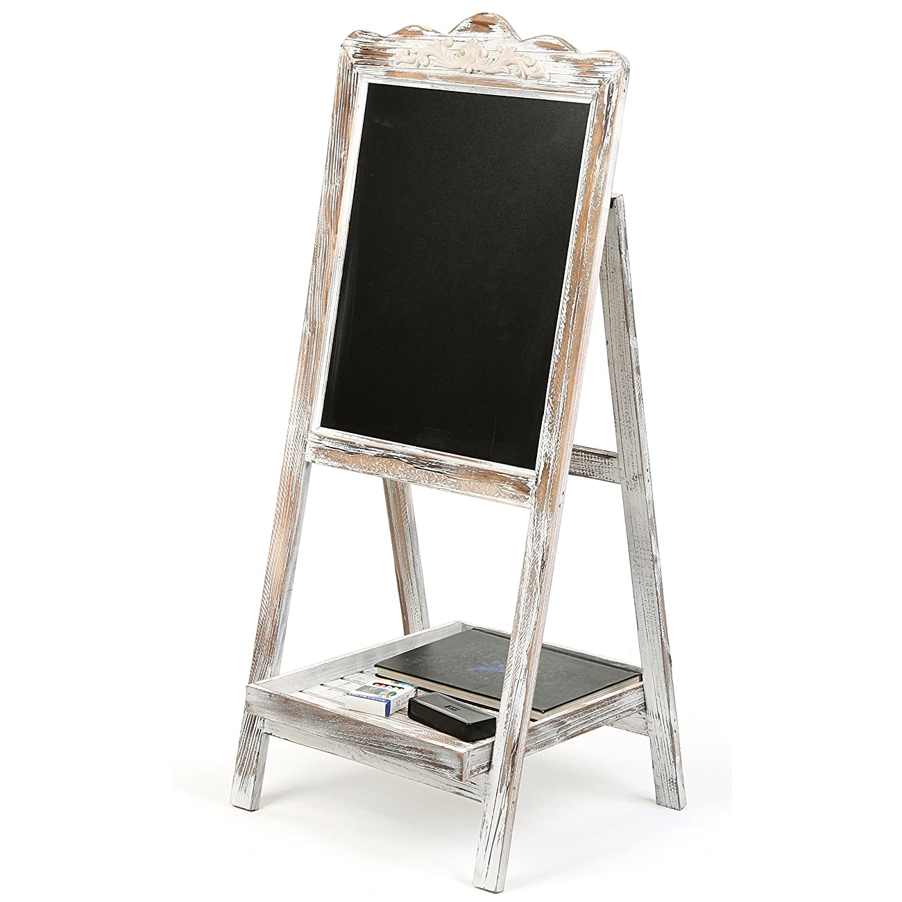 MyGift Vintage Style White Washed Brown Wood Chalk Board Easel / Freestanding Guest Message Sign Board 3
