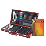 Professional Art Kit Drawing and Sketching Set 58-Piece in Wooden Box Colored Pencils, Art Kit for Kids, Teens and Adults/Gift by ZagGit (Color: Grey)