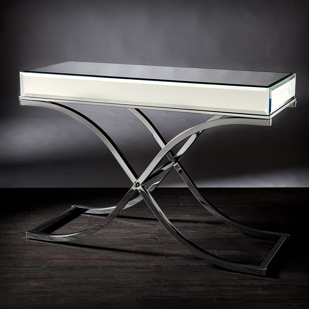 Southern Enterprises Ava Mirrored Console Table, Chrome Frame Finish
