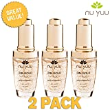 Nu Yuu 24K Gold Foil Facial Serum with Vitamin C + Hyaluronic Acid (3-Pack), Size 1 fl oz.