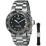 Oris Men's 73376754154SET Analog Display Automatic Self Wind Silver Watch with Extra Black strap (Color: Silver)