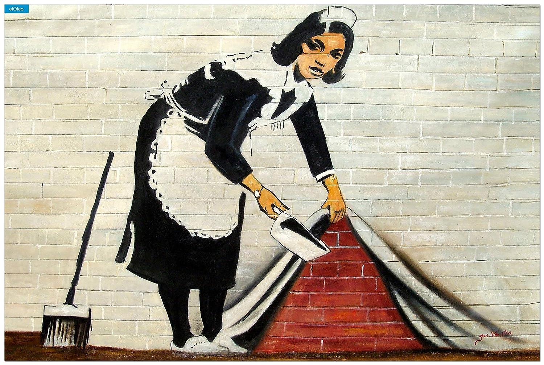 elOleo Homage to Banksy – Sweeping Under Wall 120×180 Gemälde auf Leinwand handgemalt 83592A – in Museumsqualität jetzt kaufen