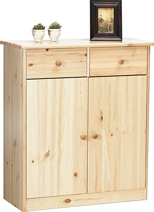 Steens 1780270119 Highboard Mario 89 x 78 x 35 cm Kiefer massiv, natur lackiert