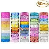 50 Rolls Glitter Washi Masking Tape Set,Great for DIY Decor Scrapbooking Sticker Masking Paper Decoration Tape Adhesive School Supplies (Tamaño: 50 PACK)